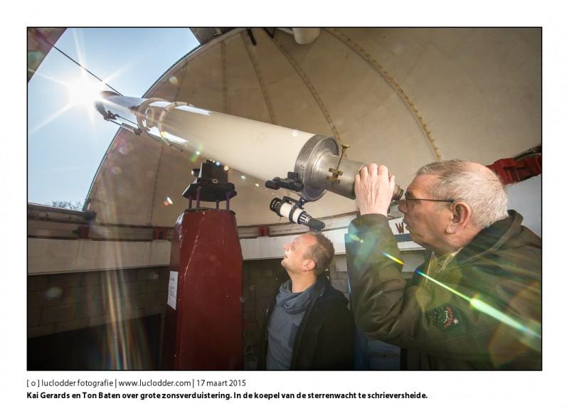 Kai Gerards en Ton Baten over grote zonsverduistering. In de koepel van de sterrenwacht te schrieversheide waar het vrijdag druk zal worden.