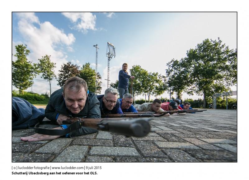 Schutterij Ubacbsberg aan het oefenen voor het OLS.